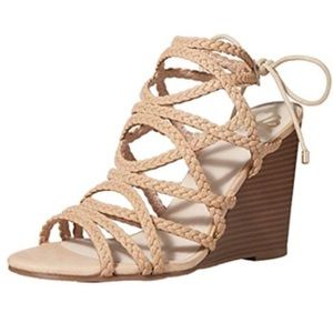🌹 Fergalicious Baxter Nude Wedge Sandals Size 9.5